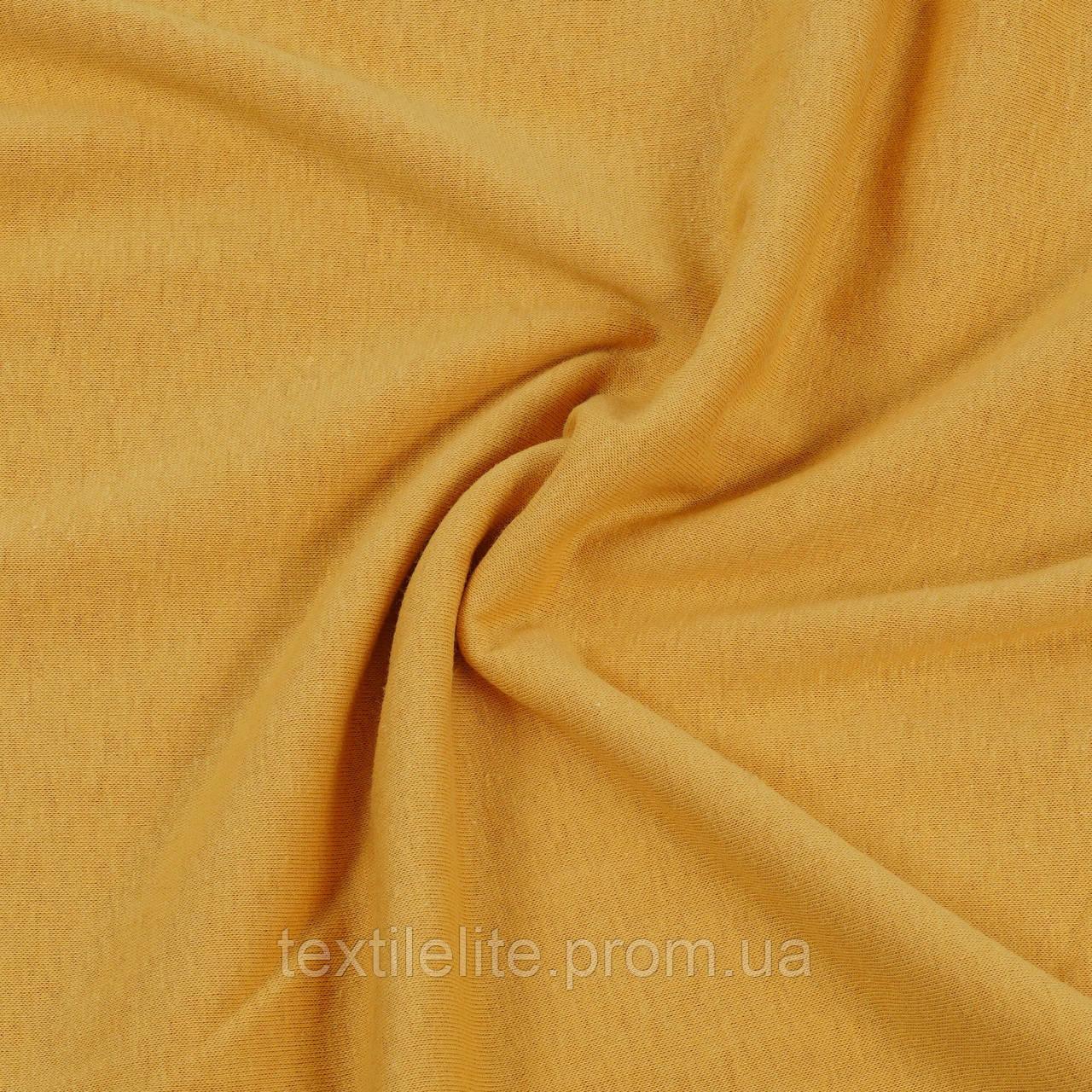 Кулирная гладь ткань оптом, горчичный цвет, 100% хлопок, Турция