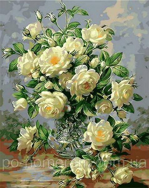 раскраска для взрослых букет белых роз Qs1115 50 х 65 см Babylon