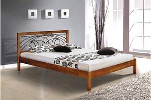 Деревянная кровать Карина с коваными элементами (ольха) - 1,6м