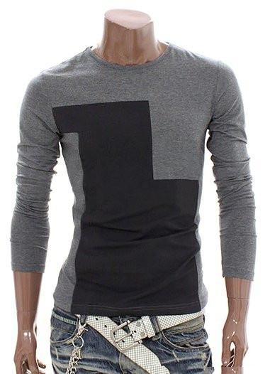 Мужская футболка с длинным рукавом, украшенная оригинальным контрастным принтом