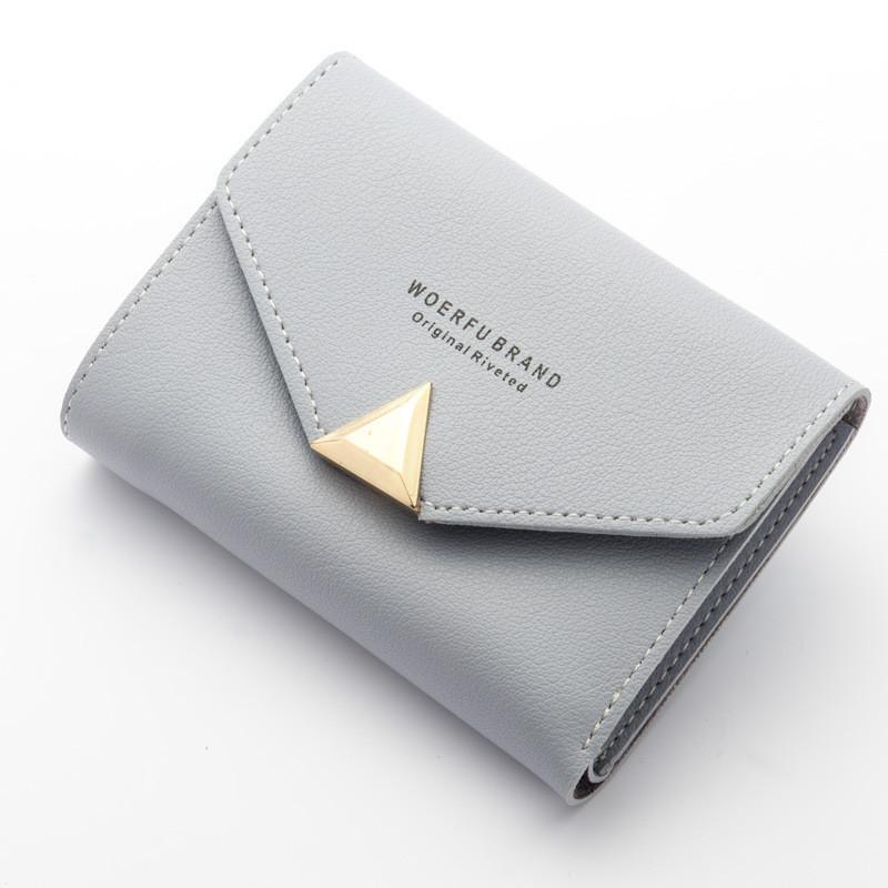 cb6a6ee88779 Женский маленький кошелёк на кнопке серый купить по выгодной цене в ...