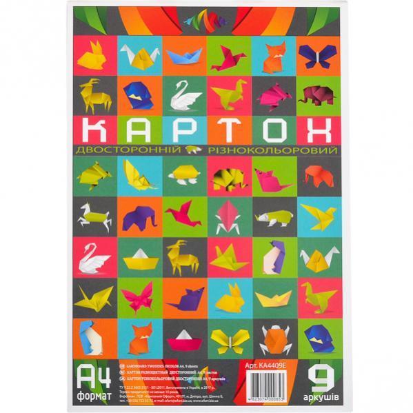Цветной картон А 4 двусторонний, разноцветный, 9 листов «Офорт»