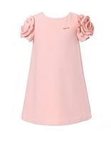 Простое элегантное платье с рукавами розами 3-11 лет