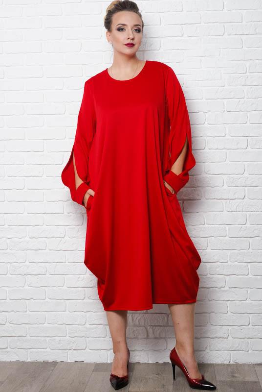 Красное батальное платье  Доменик