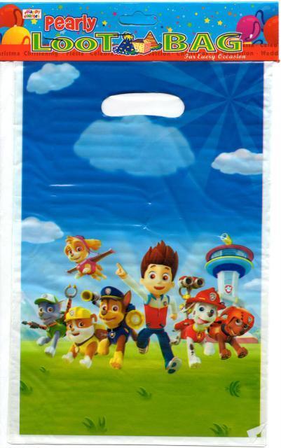 """Пакеты подарочные, сумочки полиэтиленовые детские для подарков """"Щенячий патруль"""", 10 штук"""