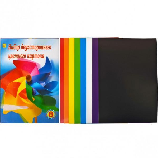 Цветной картон А4 двусторонний, 8 листов «Коленкор»