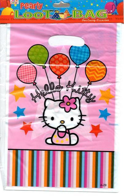 """Пакеты подарочные, сумочки полиэтиленовые детские для подарков """"Китти"""", 10 штук"""