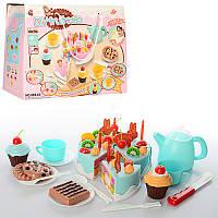 """Продукты на липучке, набор """"Торт"""", торт на липучке, сладости, посуда, 2 цвета,889-23-24"""