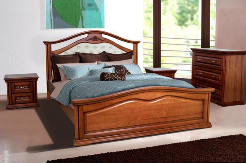 Кровать двухспальная из массива дерева с мягким изголовьем- Маргаритта  (орех)