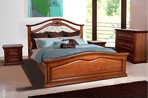 Ліжко двоспальне з масиву дерева з м'яким узголів'ям - Маргаритта (горіх)