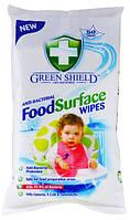 Антибактериальные влажные салфетки Green Shieeld Food 50 шт. , фото 1