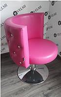 Кресло парикмахерское Ice Queen на пневматике Хром Диск, кожзаменитель Rainbow Rose Red (Velmi TM)