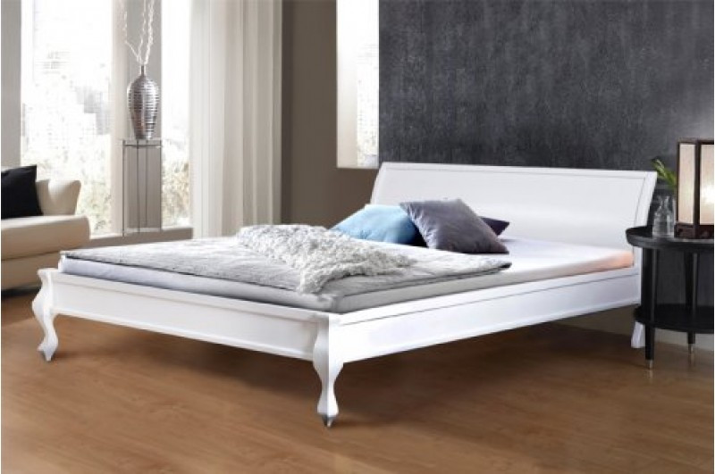 Кровать из массива сосны, двухспальная -Николь (цвет белый)