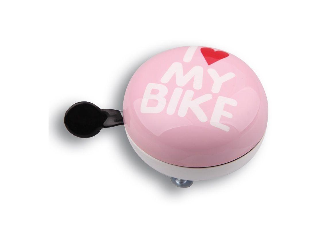Звонок (Динг-Донг) Green Cycle GBL-458 I love my bike диаметр 80мм розовый BEL-79-70