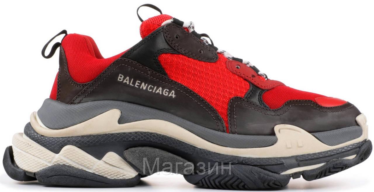 Женские кроссовки Balenciaga Triple S Red Баленсиага Трипл С красные