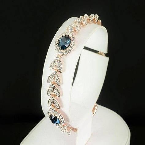 """Красивий жіночий браслет з синіми каменями Сваровскі позолота """"Святковий настрій"""", фото 2"""