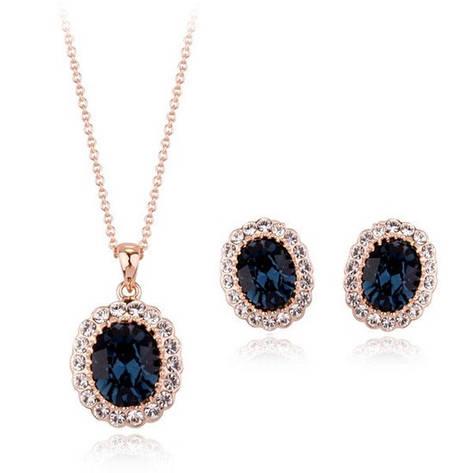 Жіночий набір біжутерії (кольє, сережки) класика з синіми каменями позолота, фото 2
