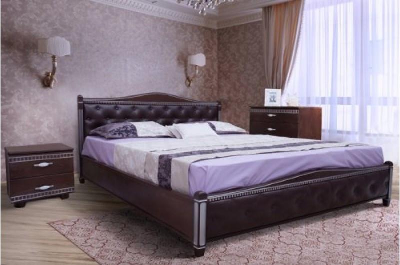 Кровать из массива дерева с мягким изголовьем -Прованс