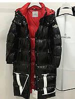 Куртка удлинённая Монклер черно-красная , фото 1
