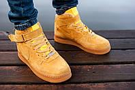 Мужские зимние ботинки с мехом Nike Air Force High Redshoes (Реплика ААА+)