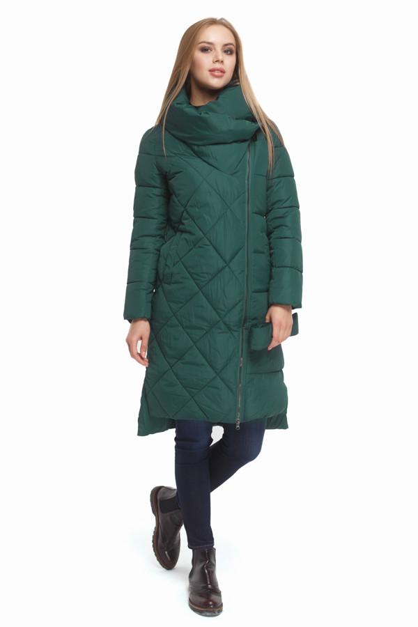 Женская стильная зимняя куртка зеленая