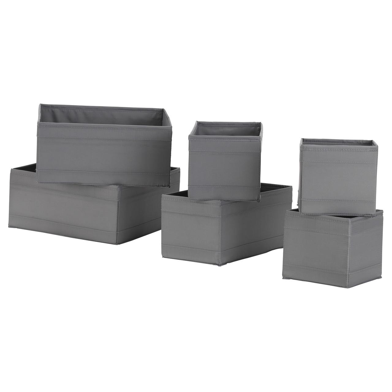 Набор коробок IKEA SKUBB 6 шт темно-серые 403.999.98