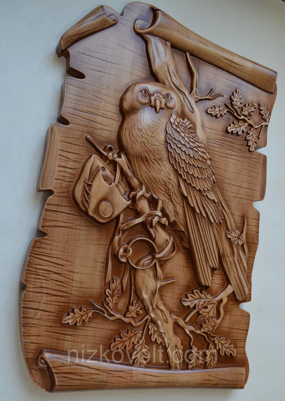 """Оригинальный подарок - Резная картина из дерева """"Сова на дубовой ветке"""" 300х450х36 мм"""