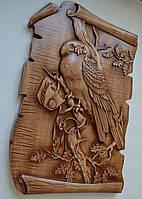 """Оригинальный подарок - Резная картина из дерева """"Сова на дубовой ветке"""" 300х450х36 мм, фото 1"""