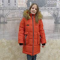 """Зимнее пальто """"Гучи-карман""""красный, фото 1"""