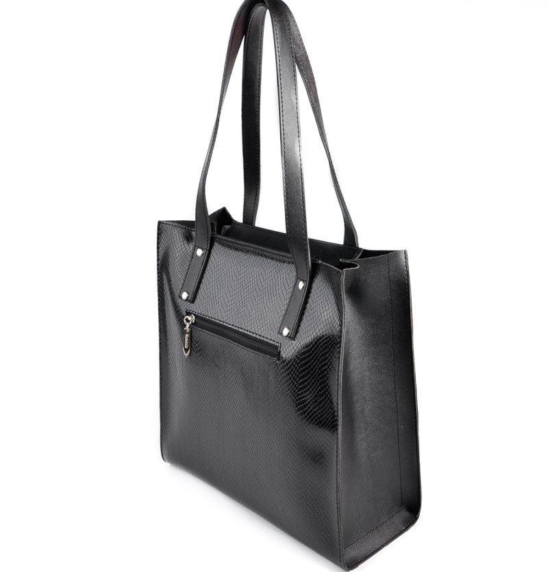Сумка шоппер женская на плечо черная с длинными ручками под кожу питона