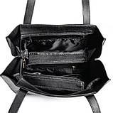 Сумка шоппер женская на плечо черная с длинными ручками под кожу питона, фото 3