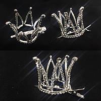 Корона принцессы  серебристая  на заколке