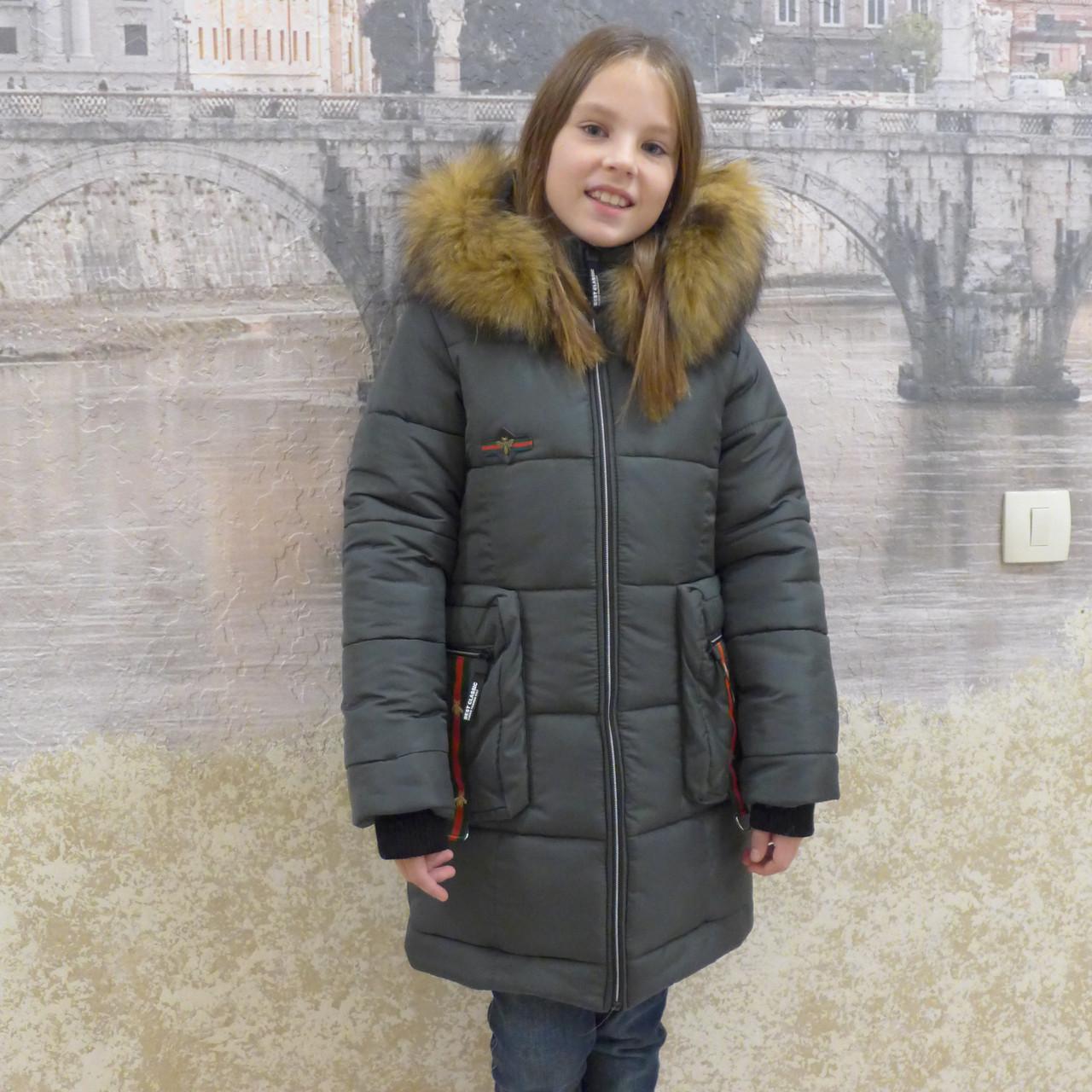 "Зимнее пальто ""Гучи-карман"" хаки"
