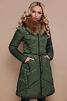 Теплый женский зеленый пуховик с мехом приталенного кроя на змейке до колен Куртка 18-86