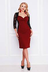 Вечернее платье футляр до колен с декольте и гипюровыми рукавами, большие размеры Сусанна-Б д/р бордовое