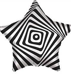 Agura Шар 18''/45 см, Звезда, Иллюзия, Белый/Черный