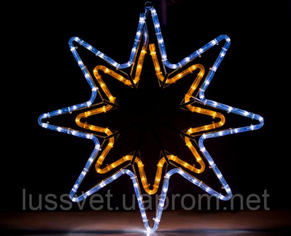 """Новогодняя гирлянда-звездочка светодиодная HolidayProf """"Звезда"""" 50х60см белая+желтая (черн. кабель)"""