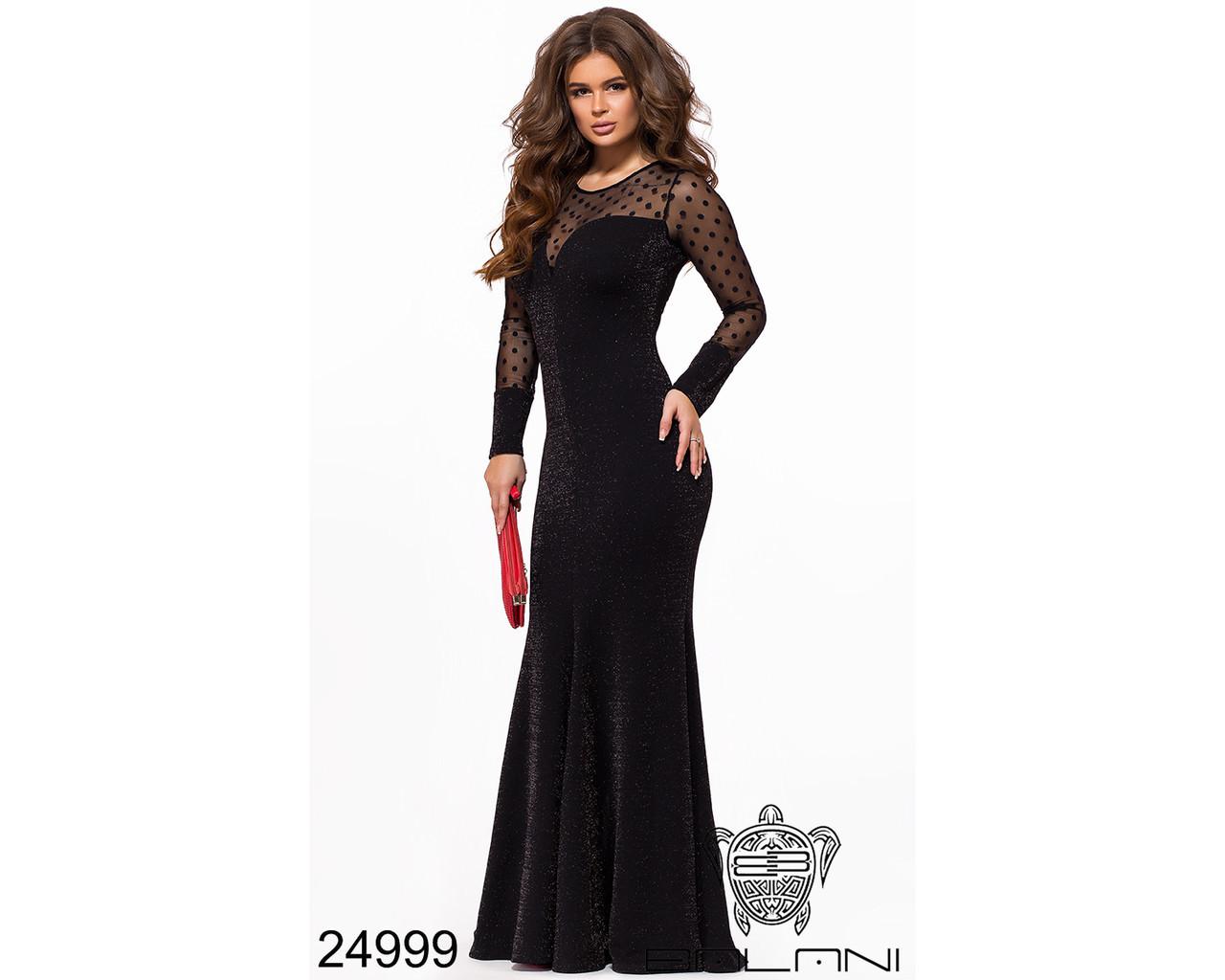 398161807c8 Черное длинное вечернее платье в пол женское с длинным рукавом - Интернет- магазин mir-