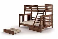 Семейная кровать деревянная, двухъярусная - Скандинавия.