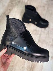 37. 38 розмір! Зимові черевики на липучці чорні натуральна шкіра