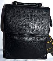 Мужская черная барсетка через плечо Moltani из натуральной кожи 18*22 см (клапан), фото 1