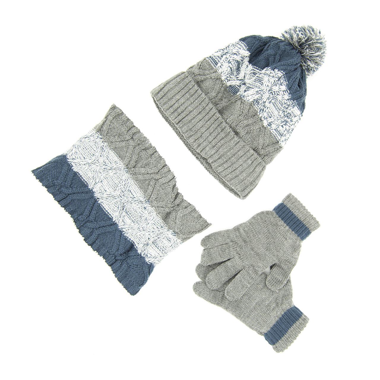 Комплект: шапка, снуд, перчатки Детский 7-12 лет Серый