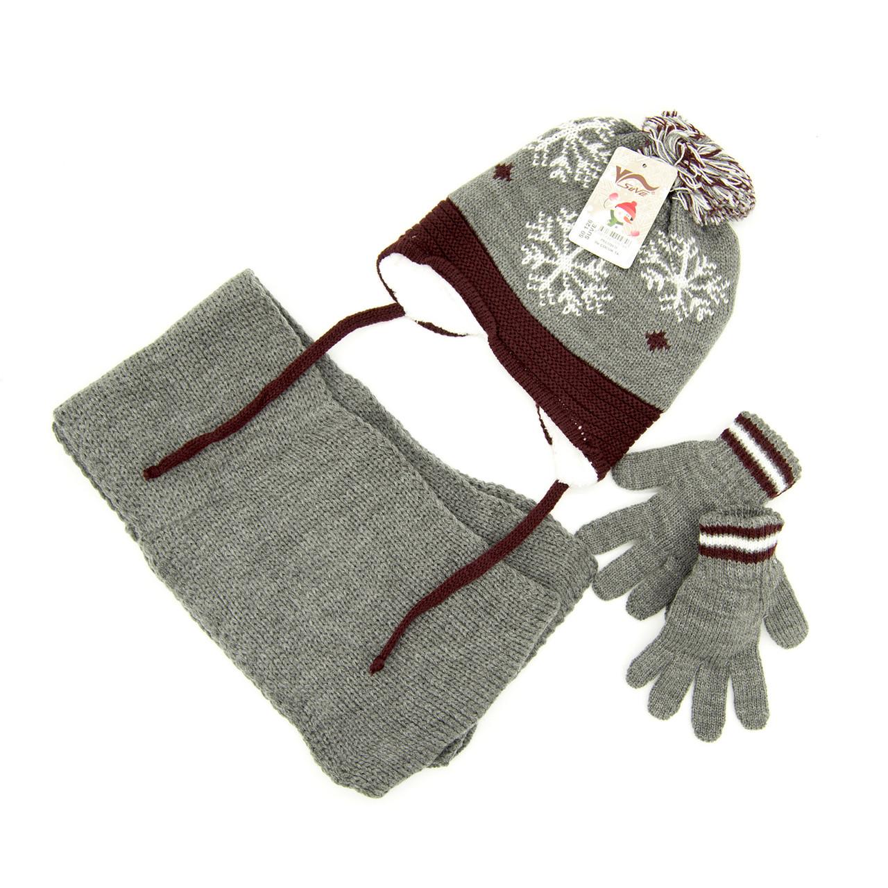 Комплект: шапка, шарф, перчатки Детский 3-6 лет Серо-коричневый