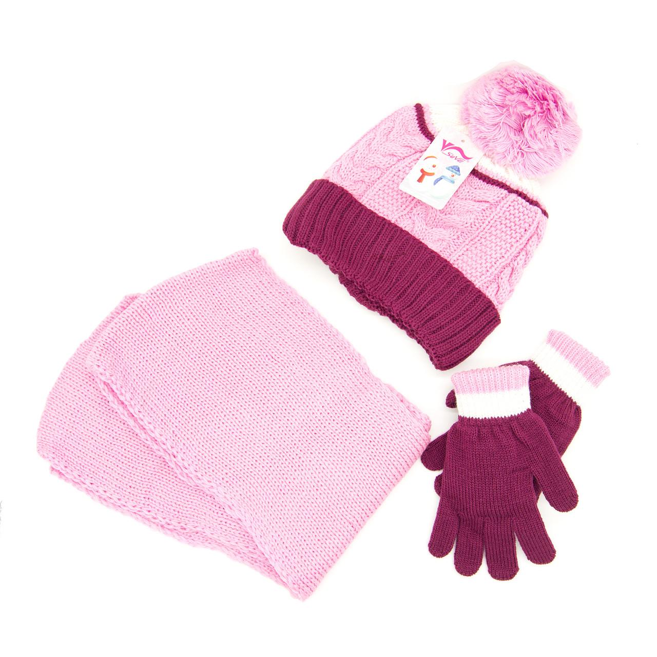 Комплект: шапка, шарф, перчатки Детский 7-12 лет Розово-бордовый