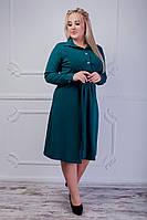 Стильное женское платье с поясом батал, фото 1
