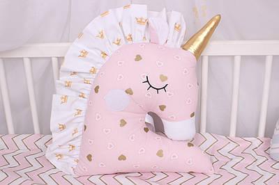 Подушка игрушка в детскую кроватку единорог