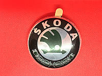 Эмблема, значек, логотип  79 мм зеленая Skoda Шкода А5 Super-В,Fabia,Yeti, Rumster R