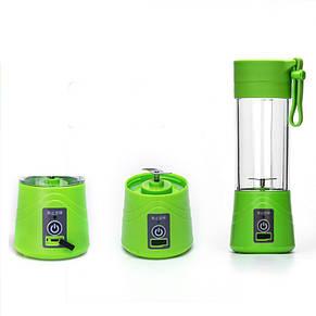 Портативный аккумуляторный блендер SUNROZ Smoothie Maker для приготовления смузи 380 мл Зеленый (SUN1216), фото 2