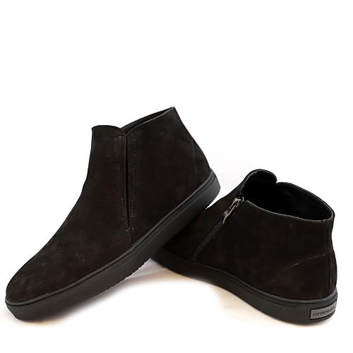 Ботинки мужские на утолщенной подошве, из натуральной кожи нубук черного цвета