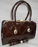 Женская лакированная сумка 91791 Coffee купить женскую лакированную сумку, фото 1
